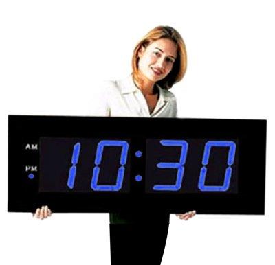 "Giant 8"" Blue Numbers Digital Wall Clock"