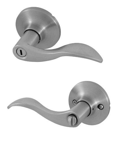 Honeywell 8106302 Wave Privacy Door Lever, Satin Nickel (Double Bedroom Doors compare prices)