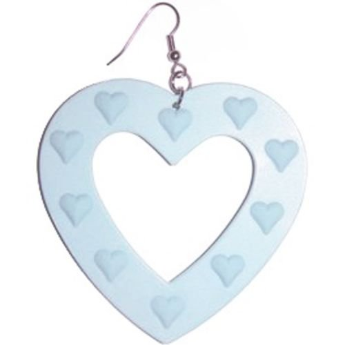 Large Plastic Heart Earring In Light Blue with Silver Finish