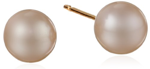 14k Yellow Gold and AA Freshwater Cultured Pearl Stud Earrings (5-5.5mm)