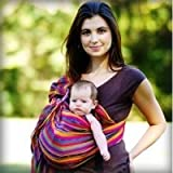 MAYA WRAP Lightly Padded Baby Ring Sling Carrier (MEDIUM - BRIGHT STRIPE)