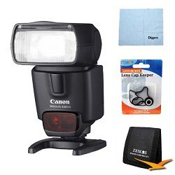 Canon Speedlite 430EX II Flash for Canon Digital SLR Cameras w/ Lens Cap Keeper, Microfiber Cleaning Cloth, Memory Card Wallet