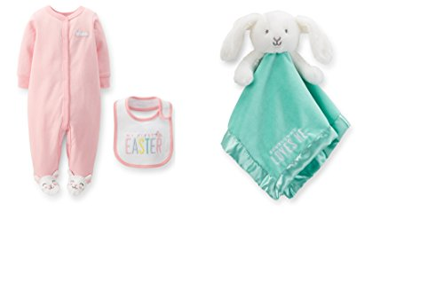 Carter's Baby Girl's Easter Sleep & Play Set with Bib & Bunny Security Blanket