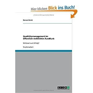 eBook Cover für  Qualit xE4 tsmanagement im xF6 ffentlich rechtlichen Rundfunk Schl xFC ssel zum Erfolg