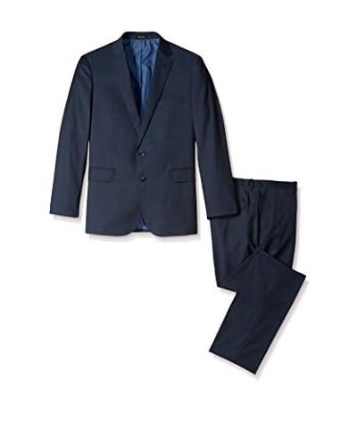 London Fog Men's Solid 2 Button Flat Front Wool Suit