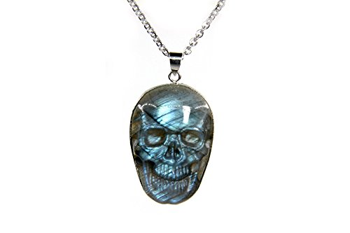 Amandastone Natural Labradorite Hand-carved Skull Pendant Necklace 22 inchs