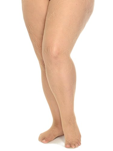 Simplicity Women's Control Top Pantyhose Tights Rose Pattern - Plus Size