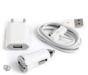 Cable USB adapateur chargeur secteur pour Iphone 3G 3GS 4 4S + Adaptateur Secteur + Allume Cigare