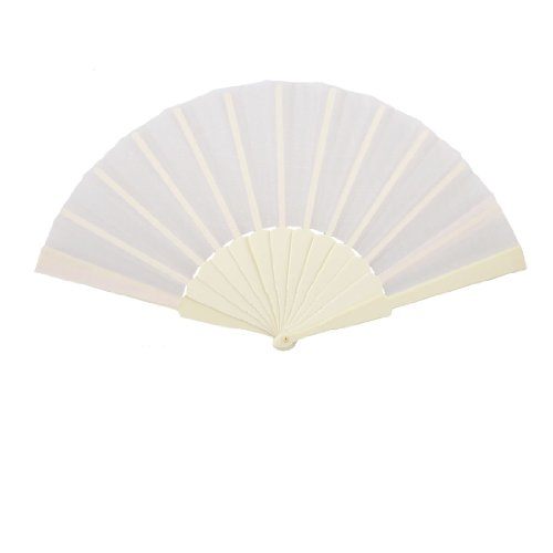 Plastic Frame Fabric Folding Hand Fan Gift for Men Women Off White