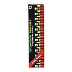 Presharpened Ticonderoga Colored Pencils,Thinex Eraser, Carmine Red, Dozen Dix14259