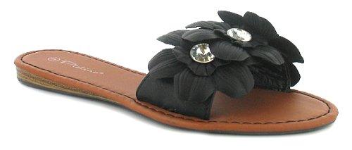 Ladies Black Jewel Flower Mule Sandals - Black