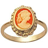 So Chic Jewels - Ladies Yellow 18k Gold Plated Red Background Cameo Ring
