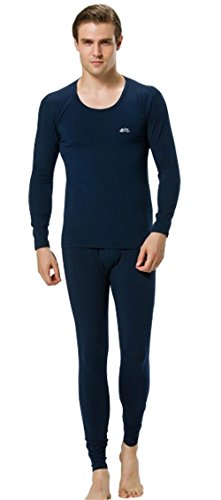 2014 newly listed closed warmth Men's new thermal underwear suits,Dark Blue