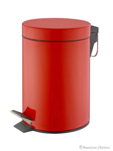 0.8G/3L Kitchen/Bathroom Red Power Coated Steel Trash Can Step On Garbage Can renolux step 2 3 red