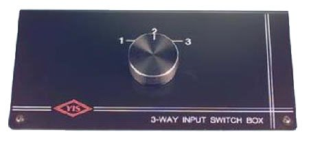Three-Way Audio / Video Tabletop Control Switch Box Metal Case With Non-Skid Rubber Feet