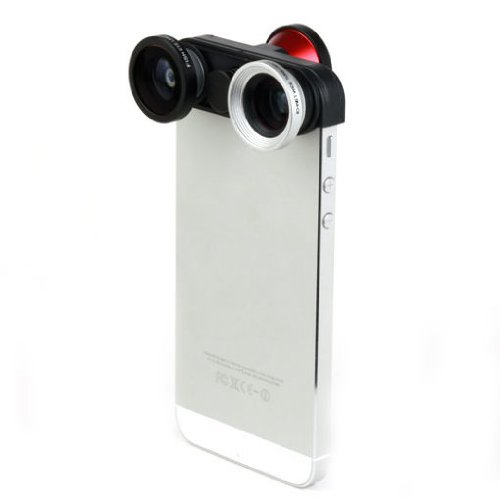 New Arrival!!! Limited Sale!!! 4 In 1 Double Fish Eye Photo Lens Kit Macro Wide Angle Lens For Iphone 5 5S In Cell Phones