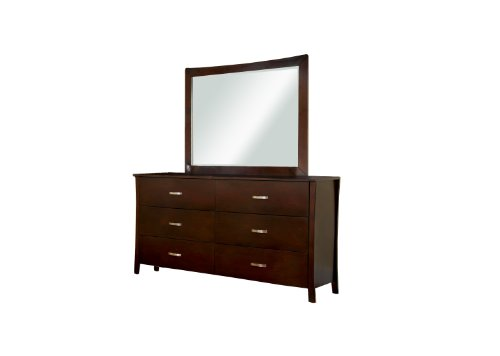 Furniture Of America Bex 2-Piece Dresser And Mirror Set, Brown Cherry Finish front-548747