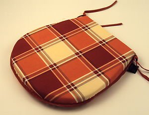 Rust/Terracotta/Cream Check Tie-On Chair Kitchen/Dining/Garden Seat Pad Cushions