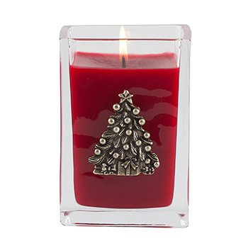 The Smell of Christmas Medium Glass Cube 12oz Candle by Aromatique