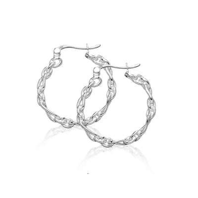 Stylish Jewelry Earrings 925 Sterling Silver Oval shape and Circle Link Hoop Design(WoW !With Purchase Over $50 Receive A Marcrame Bracelet Free)