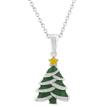 NEW White Gold CZ Christmas Tree Pendant Necklace