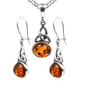 Certified Genuine Baltic Honey Amber and Sterling Silver Celtic Oval Pendant and Earrings Set Chain Rolo 18