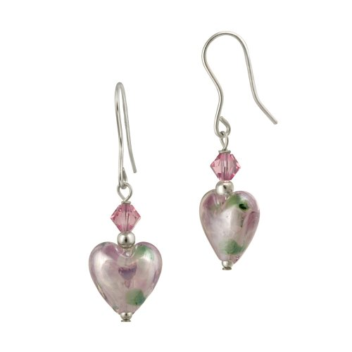 Sterling Silver Multi-Pink Crystal and Hand Blown Glass Heart Drop French Wire Earrings