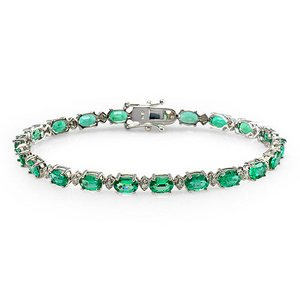 High End 7.91 Ct Emerald and Diamond Tennis Bracelet