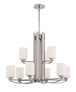 Quoizel TY5009AN Taylor 9-Light Rod Hung Chandelier, Antique Nickel