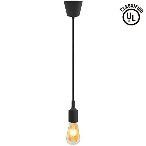 UL-listed Single Socket Pendant Light Fixture (Multi-color Options), Textile Insulating Lamp Cord, Silicon E26/E27 Lamp Holder for Home, Commercial, Pub, Club, Counter, Accent & Decorative Lighting, Black (Commercial Pendant Light Fixtures compare prices)