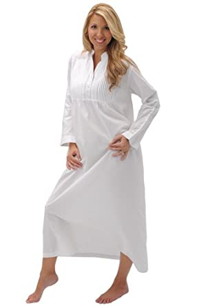 Del Rossa Women's Guinevere 100% Cotton Long Victorian Nightgown at