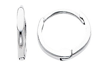 14k White Gold 1.5mm Tiny Huggies Earrings for Babies & Kids (0.3