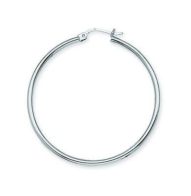 Sterling Silver 2mm x 45mm Polished Rhodium Hoop Earrings