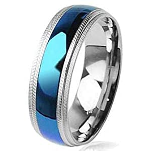 8MM High Polished Stainless Steel Ring with Blue Plated Center and Milgrain Edges