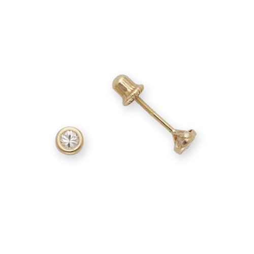 Baby CZ Earrings 14k Yellow Gold (4mm)