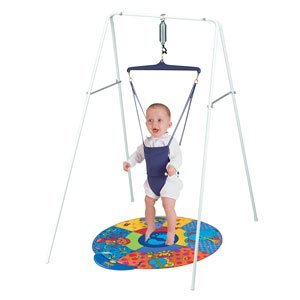 Jolly jumper on a stand with playmat baby for Door bouncer age