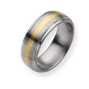 Titanium 14k Gold Inlay 8mm Brush/Polish Band