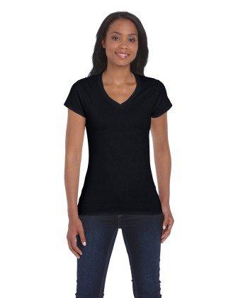 Gildan 64V00L Softstyle Womens V Neck T-Shirt Black S