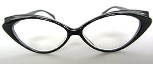Designer Retro +2.00 Ladies Cats Eye READING GLASSES Pure Black 50's 60's Vintage Style 2.0 Womens Spectacles NEW Eyewear Eyes