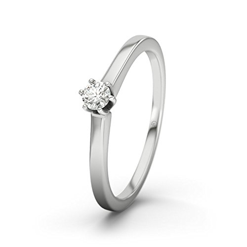 21DIAMONDS Women's Ring Delaware 0.1 ct Brilliant Cut Diamond Engagement Ring, 18ct White Gold Engagement Ring