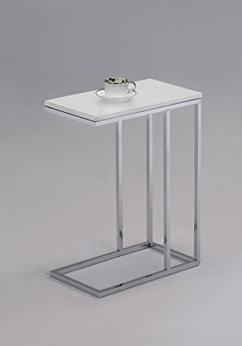 White Finish Chrome Snack Side End Table (Chrome End Table compare prices)