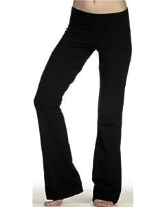 DCS Cotton Spandex Full Length Dance Workout Pant (Medium, Black)