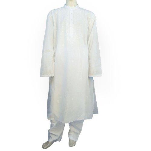 Men Cotton Dress Embroidered Kurta Pajama Chest 137 Cms (2XL/54)