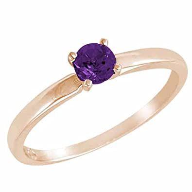 Ryan Jonathan Solitaire Amethyst Ring in 14K White Gold (4.5 mm)