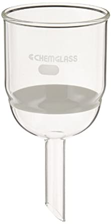 Chemglass CG-1402-23 Glass Buchner Filtering Funnel with Medium Frit, 350mL Capacity, 19mm OD x 75mm Length Stem, 80mm Diameter