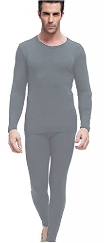Men's Thermal Underwear Set Top & Bottom Fleece Lined, M1 Light Gray, Medium (Mens Spandex Thermal Underwear compare prices)