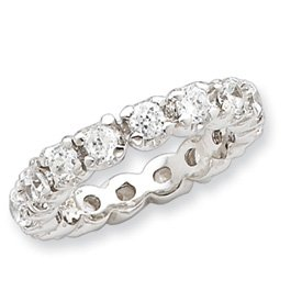 Sterling Silver CZ Eternity Ring - Size 7 - JewelryWeb