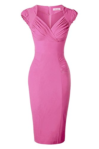 Newdow Lady's 50s Vintage V-neck Capsleeve Pencil Dress (Medium, Pink)