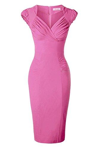 Newdow Lady's 50s Vintage V-neck Capsleeve Pencil Dress (X-Large, Pink)