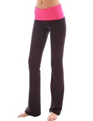 PattyBoutik Color Block umgeschlagenem Bund Bootcut Lounge Sport Yoga Pant